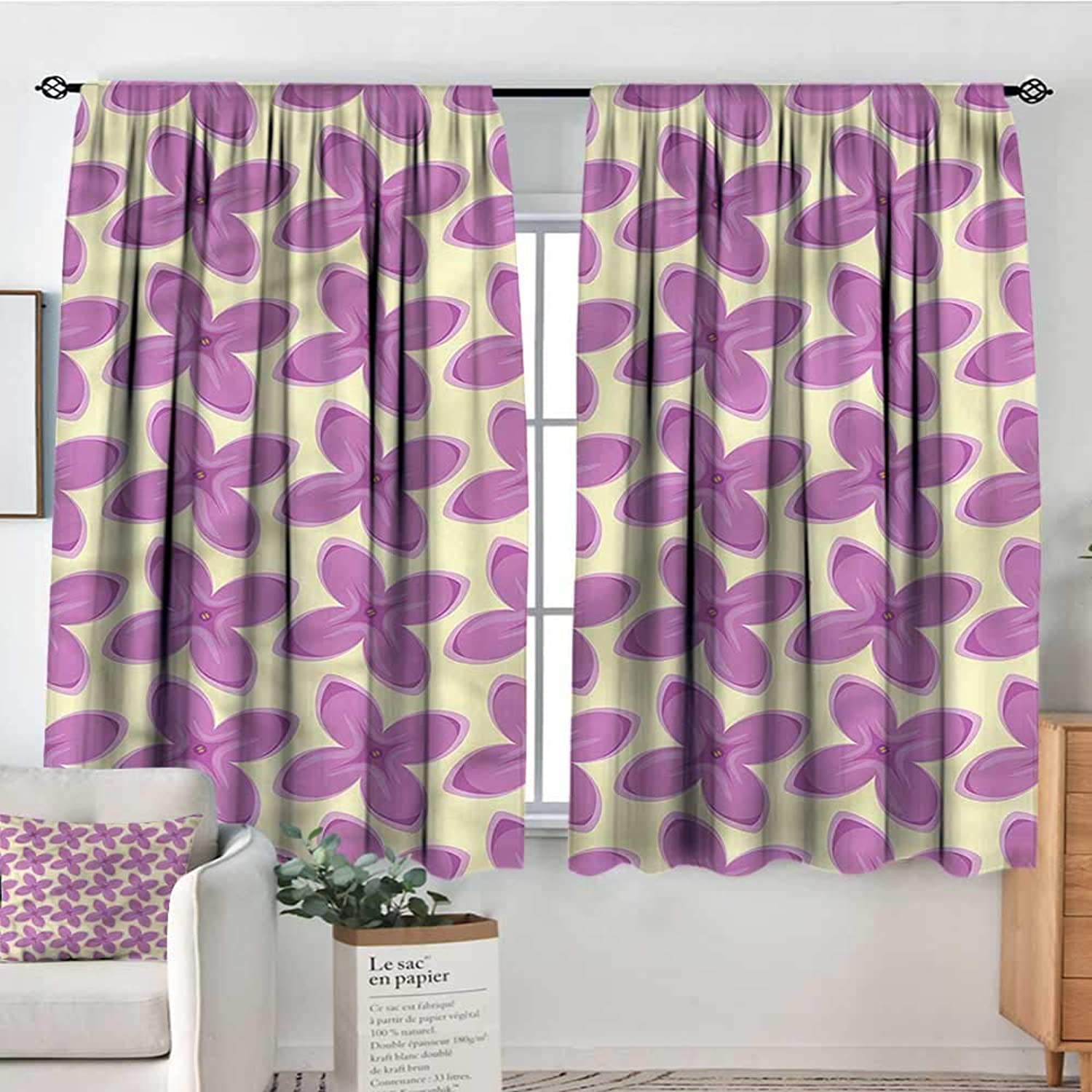Mauve,Decor Curtains Fresh Floret Buds 42 X63  Drapes for Baby Iving Room