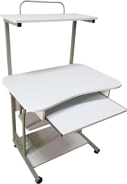 The Mezzanine Shoppe 50163WHT Mobile Computer Tower Desk With Shelf 31 5 White