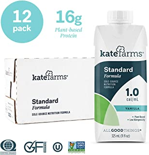 Kate Farms Standard 1.0 Vanilla Meal Replacement Formula Drink, Dairy, Soy, Gluten-Free, Essential Vitamins, Organic Plant-Based Protein for Oral and Tube Feeding, 11 Ounces (Case of 12)