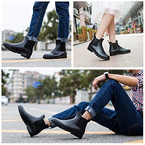 Asgard Women's Short Rain Boots Waterproof Black Elastic Slip On Ankle Booties B37