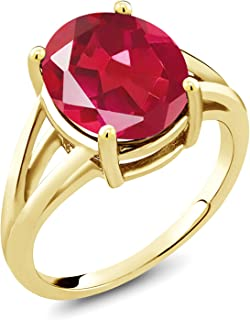 Gem Stone King 4.10 Ct Oval Last Dance Pink Mystic Quartz 18K Yellow Gold Plated Silver Ring