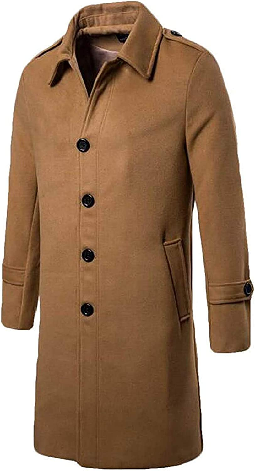 Zjeia Men Long Single-Breasted Casual Wool-Blend Thickened Trench Coat
