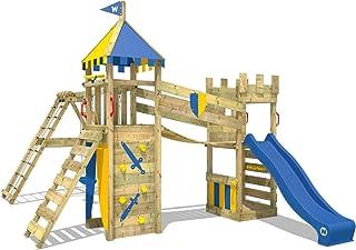 WICKEY Parque infantil de madera Smart Legend 120 con columpio y tobogán, Casa de juegos de jardin con arenero y escalera para niños