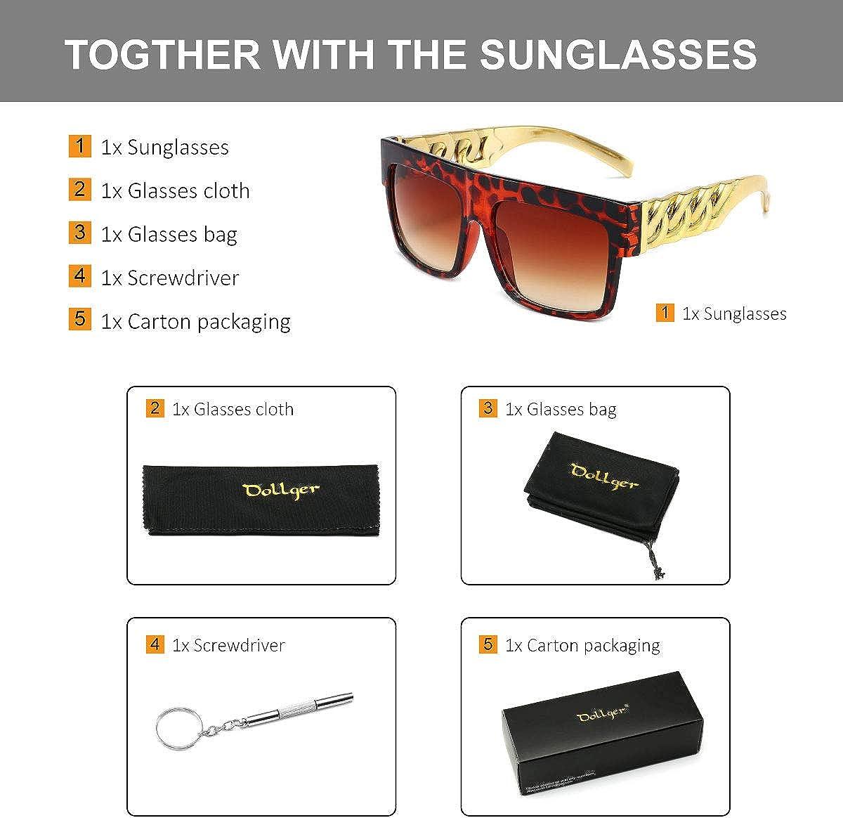 Golden Chain Arm Square Oversized Sunglasses Women Men Hip Hop Luxury Sunglasses
