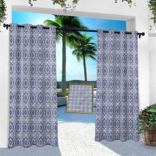 Aishare Store Pérgola cortina para exteriores, diseño de espirales y curvas en árabe, 132 cm de ancho x 213 cm de largo y resistente a la corrosión, con ojales extra anchos en la parte superior para interiores y exteriores (1 panel).