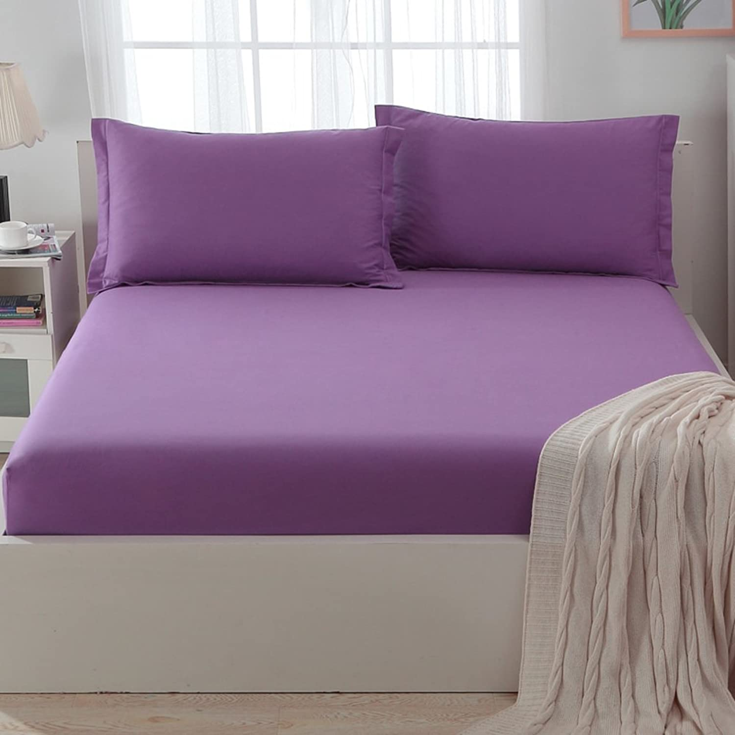 Cotton Bed Cover,Single Piece Cotton Hypoallergenic Mattress Cover Mattress Over 1.5m Sheets 1.8m Bed Cover with Split Corners Pleated Styling-L 150x200cm(59x79inch)