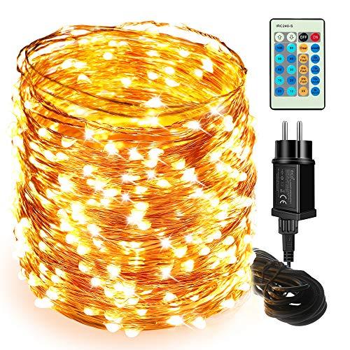 Lichterketten LED-Lichterketten - Moobibear 50M 500 LEDs Kupferdraht Sternenlichtlichter, dimmbar mit Fernbedienung, dekorative Weihnachtslichter Wasserdicht für Garten Terrassen Schlafzimmer