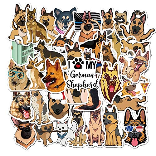 YZFCL Cute Cute Pet Series German Shepherd Dog Animal Sticker Pet Dog Decorative Paper Sticker PVC Skateboard Laptop Graffiti Bi 50Pcs