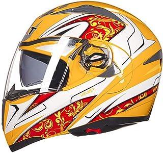 LJJ - Casco de Moto de Doble Lente con diseño de Flores y Costuras a Rayas, para Todas Las Estaciones, Yellow White, X-Large