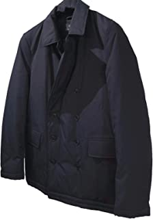 Brooks Brothers Men's Thermore ECODOWN Insulated Water Resistant Double Breasted Peacoat Dark Blue Medium
