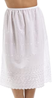 Camille Classic White Embroidered 26'' Half Length Lace Trim Under Skirt Slip