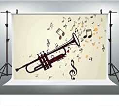 Classical Music Party Backdrops for Photography, 9x6FT, Trumpet Flying Notes Backgrounds, 2019 Romantic YouTube Photo Booth Props LUP001