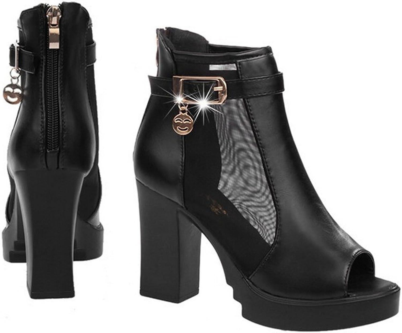 San hojas Platform Heel White Black Sandals of Peep Toe