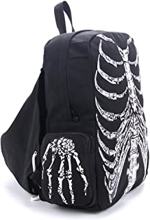 AOWOFS College Cotton with Hat Skeleton 3D Print Character Laptop Men's Backpack 10 inch