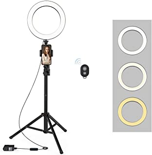 Selfie Ring Light with Tripod Stand and Phone Holder LED Circle Lights Halo Lighting for Photo Photography Vlogging Make U...