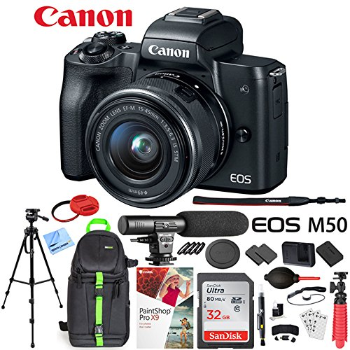 Canon EOS M50 Mirrorless Digital Camera Black with EF-M 15-45mm is STM Lens Bundle with 32GB Memory...
