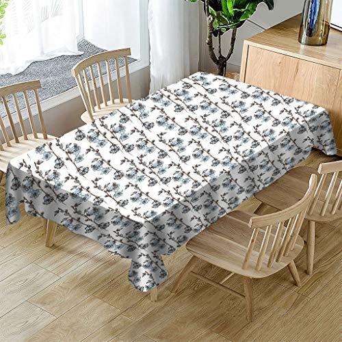 JHSH Nappe en Polyester Rectangulaire Bleu Motif De Fleur Modèle De Table Basse Décoration Durable Tissu Écologique140X240Cm