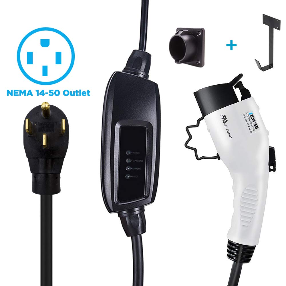 Zencar Level 2 EV Charger(240V, 16A, 25ft), Portable EVSE Home Electric Vehicle Charging Station Compatible with Chevy Volt, Nissan Leaf, Fiat, Ford