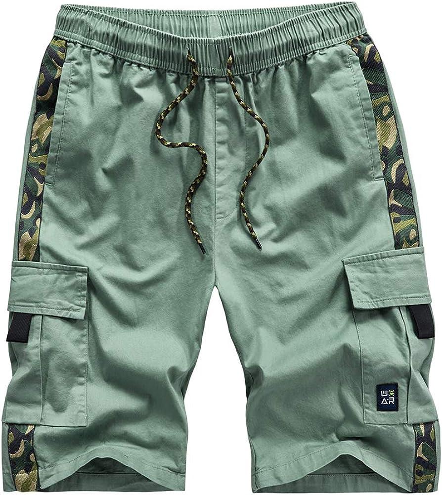 Kolongvangie Cargo Shorts Ranking TOP13 Elastic Drawstring Casual Virginia Beach Mall Cotton Waist
