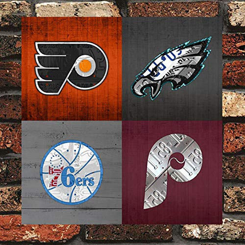 LIBAR Philadelphia Sports Fan Recycled Vintage Pennsylvania Retro Decor Metal Wall Plaque Vintage Tin Sign 8