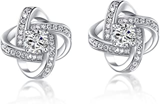 Forever Love 18k Gold Plated Womens Cubic Zirconia Stud Earrings Crystal Wedding Jewellery