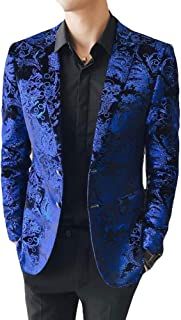 Men's Fashion Floral Blazer Two Buttons Peak Lapel Tuxedo Jacket Slim Fit Prom Party Coat Casual Suit Jacket