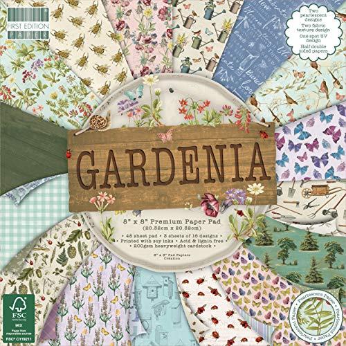 First Edition 8'x8' Sheets Gardenia Premium Paper Pad x 20,3cm 48Fogli (FSC), Multicolore, 1, Multi Colour, 1