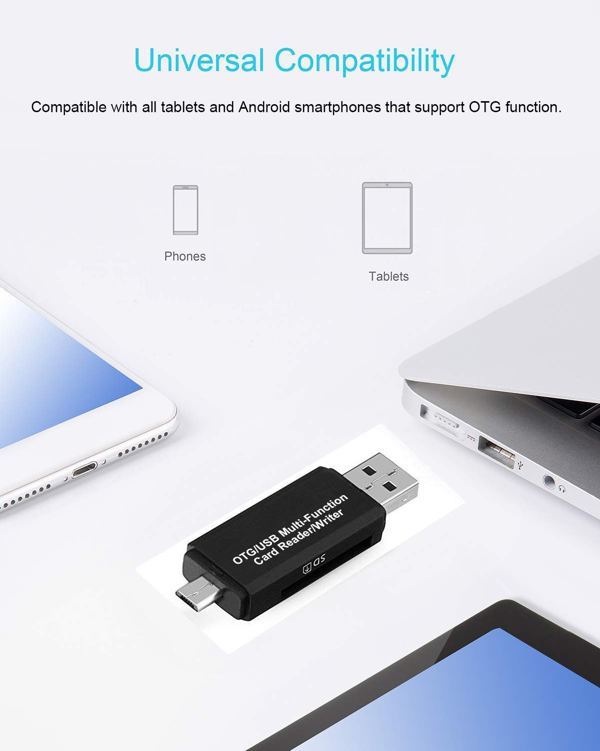 Micro USB OTG to USB 2.0 Adapter; SD/Micro SD Card Reader with ...