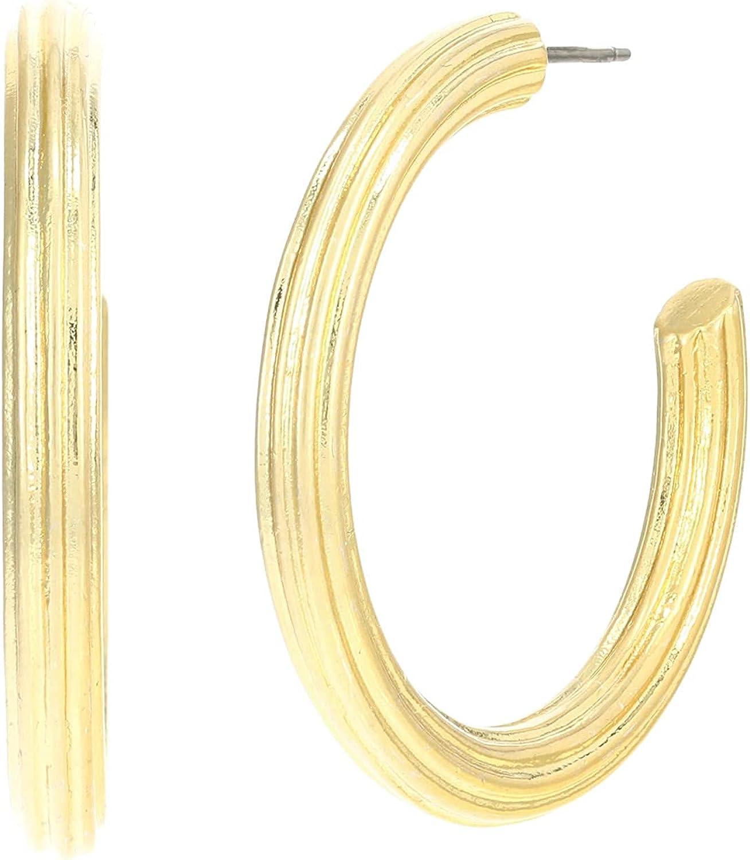 Madewell Gold Ribbed Large Hoop Earrings