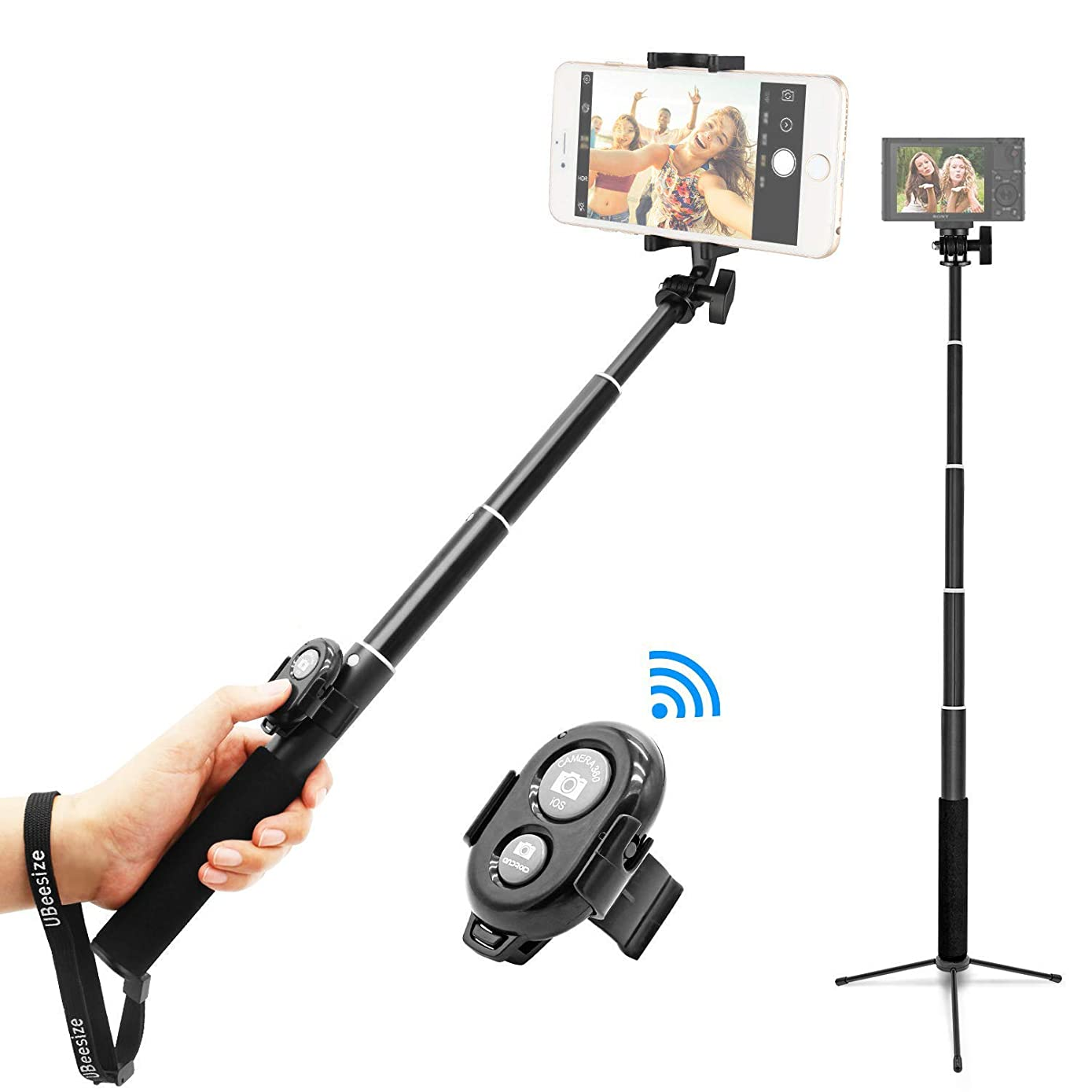 Selfie Stick, UBeesize Extendable Monopod with Tripod Stand and Wireless Shutter Remote, Compatible with iPhone, Samsung, Other Android Phones, Digital Cameras and GoPro