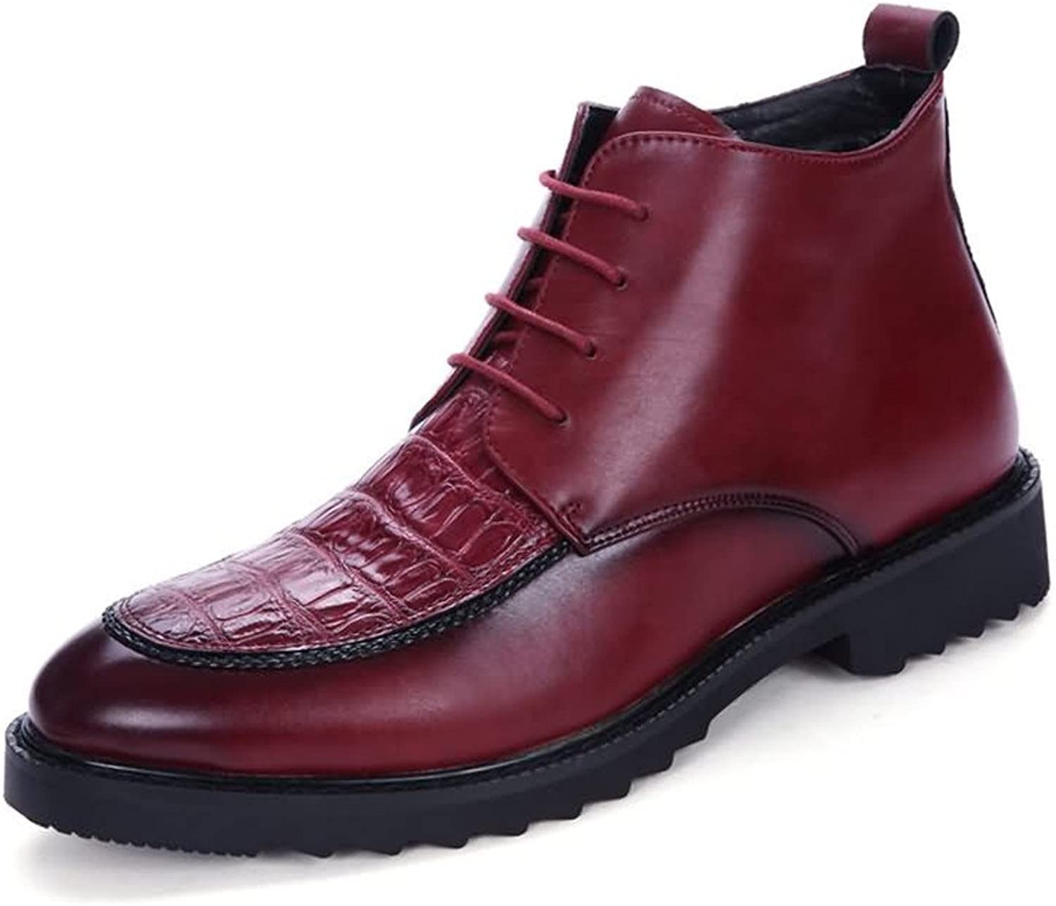 Men's Ankle Boots Flate Heel Pointed Toe Leisure and Fashion PU Leather Lace Up shoes (color   Red, Size   6.5MUS)