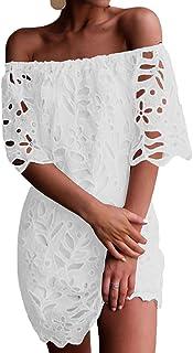 Amazon Fr Robe Blanche Unie Courte
