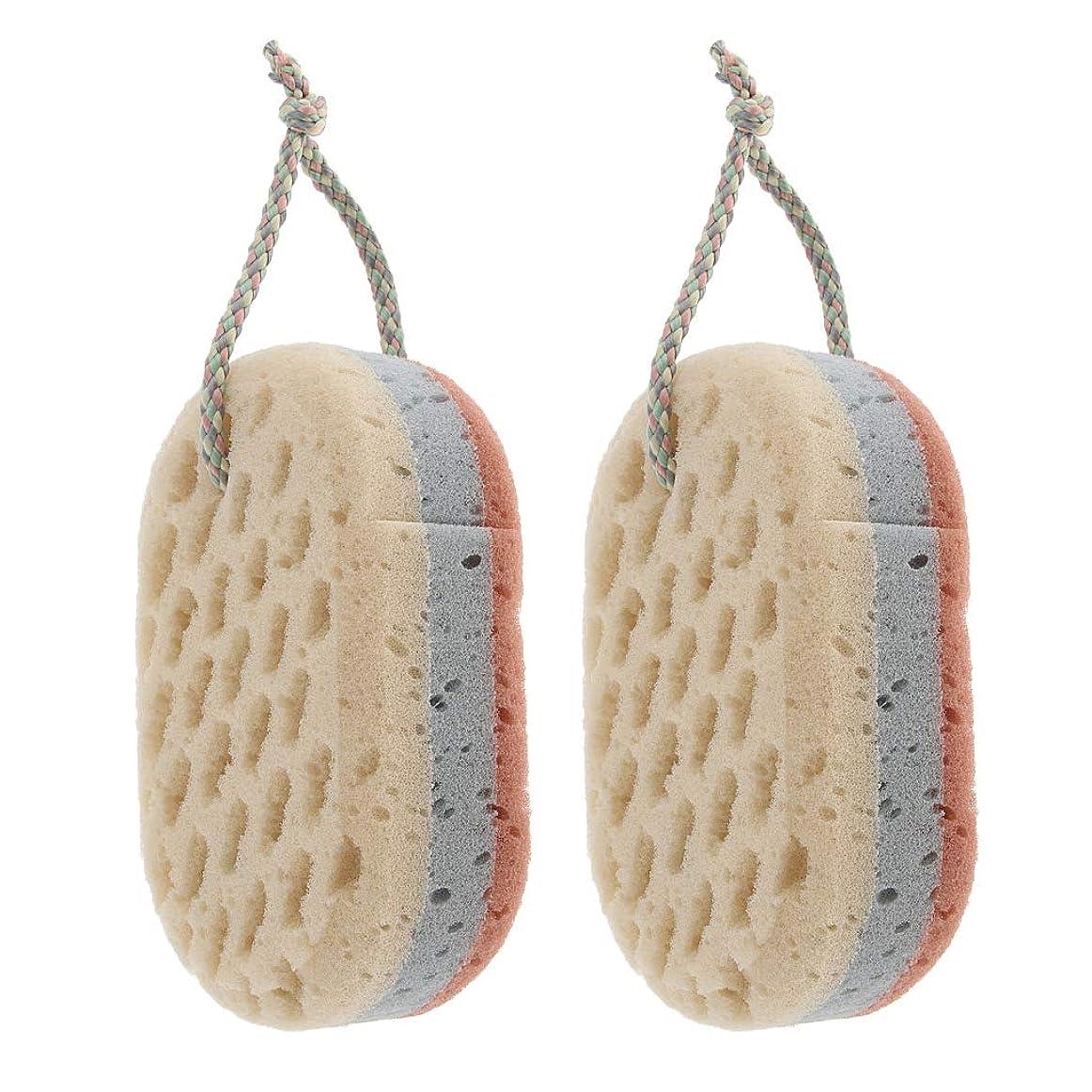 レンダーボウル協会D DOLITY 2個セット バススポンジ ボディ 背中 お風呂 シャワー 泡立て 約15x9cm