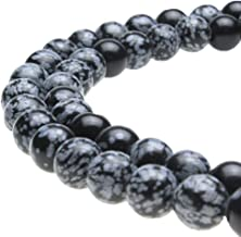 JarTc Snowflake Obsidian Beads Round Natural Stone Beads for Jewelry Making DIY Bracelet (8mm)