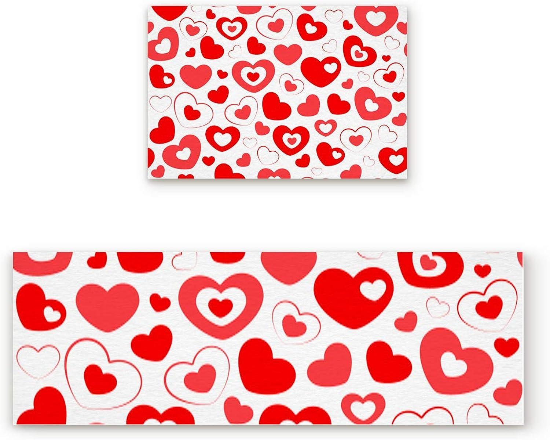 Aomike 2 Piece Non-Slip Kitchen Mat Rubber Backing Doormat Pleasant Sweet Red Hearts Pattern Runner Rug Set, Hallway Living Room Balcony Bathroom Carpet Sets (19.7  x 31.5 +19.7  x 63 )