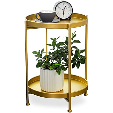 Gold Metal End Table, 2 Tier Circle Side Table, Sofa Table Removable Tray, Coffee Table Indoor/Outdoor (Gold)