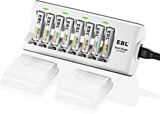 EBL Pack of 8 AAA Batteries NiMH Rechargeable Battery 800mAh with Smart 8-Slot Battery Charger