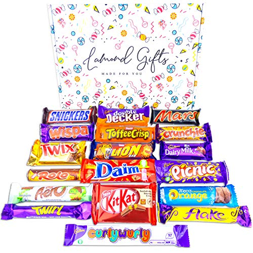 Chocolate Gift Box Selection Hamper | Cadbury Dairy Milk | Mars | Twirl | Snickers | Kit Kat & More | 19 Chocolate Bars | Gift For Chocolate Lovers, Birthday, For Him & Her! By Lamond Gifts