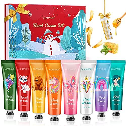 Handcremes Set Geschenk, GLAMADOR 8+1 PCS X 30 ml Mini Handcreme Set mit 1 Lippenbalsam, Feuchtigkeitsspendende Handcreme für trockene Hände, Handpflegecreme Geschenkset für Frauen und Männer