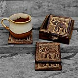 STORE INDYA Drink Coaster Set of 4 Handcrafted for Tea Coffee Beer Glass Dining Elephant Design Tabletop Home Decor Kitchen Accessories