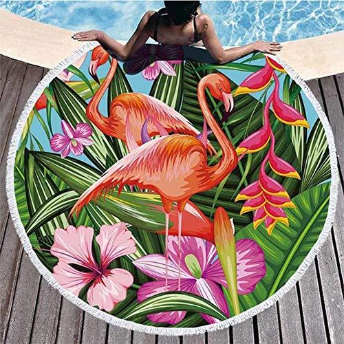 KHTO Tropische Blätter Blume Flamingo Runde Strandtuch Microfiber Strandtücher für Erwachsene gedruckt (15#)