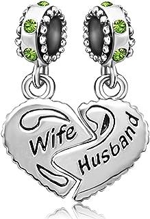 JMQJewelry Wife Husband Heart Love Charm Birthday Birthstone Month Charms for Bracelets Women Jewelry