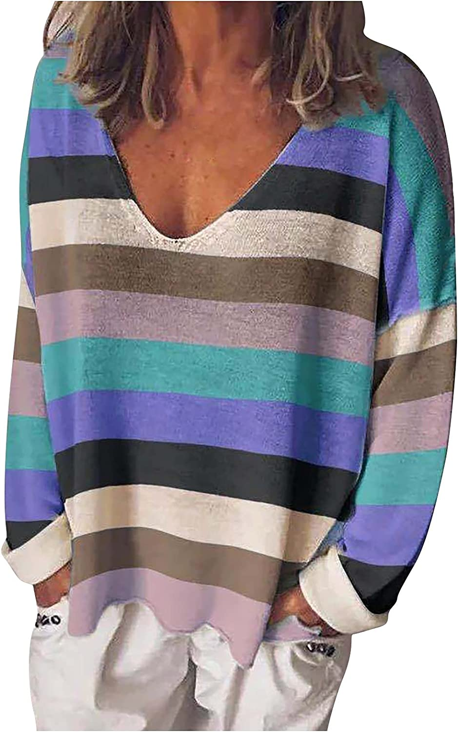 VonVonCo Pullover Sweaters for Women Female V-Neck Stripe Multicolor Knit Top Long Sleeve Loose T-Shirt Blouses