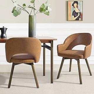 Lot de 2 chaises de salle à manger avec accoudoirs, aspect cuir antique, chaises de bureau, chaises rembourrées en cuir sy...