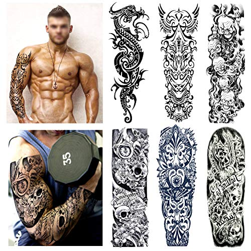 Full Arm Temporary Tattoo Set (6 Sheets), Konsait Extra Large Temporary Tattoo Realistic Black Fake Tattoo Body Stickers for Men Women Adults Kids,Dragon Geometric Dark Mark Skull Rose of The Death