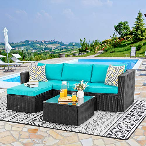 Walsunny Outdoor Furniture Patio Sets,Low Back All-Weather Small Rattan Sectional Sofa with Tea Table&Washable Couch Cushions&Upgrade Wicker(Black Rattan) (3-Piece) (Blue)