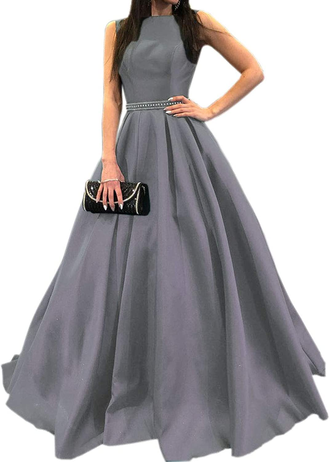 Mauwey Women's Deep V Back Aline Beaded Satin Evening Prom Dress Long Formal Gown with Pockets