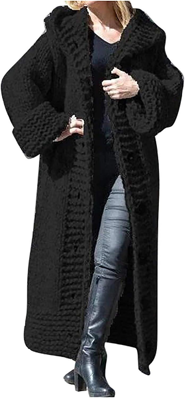 WUAI-Women Heavyweight Hooded Sweaters Oversized Long Sleeve Open Front Loose Chunky Knit Sweater Cardigans Jackets