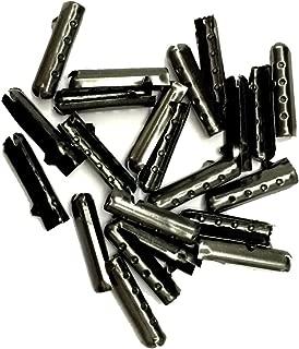 12/24/36/48 PCS Metal Aglets DIY Shoelaces Repair Shoe Lace Tips Replacement End (12PCS, Ebony)