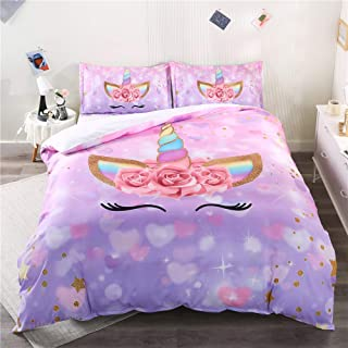 ADASMILE A & S Unicorn Bedding Full Flower Girl Duvet Cover Set Cartoon Unicorn Comforter Cover 3 Piece with 2 Unicorn Pil...